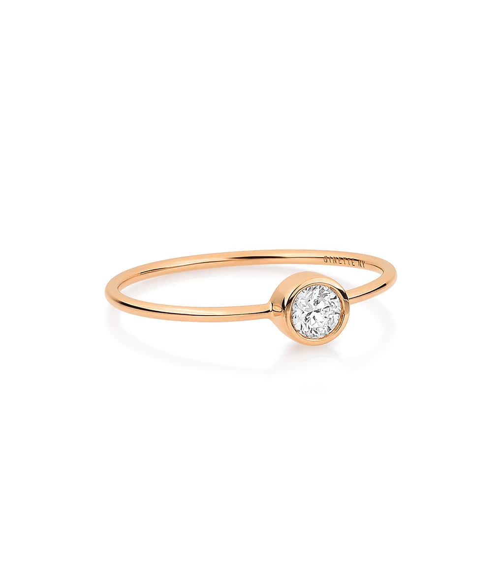 GINETTE_NY - Bague Lonely Diamonds Large Diamants Or Rose