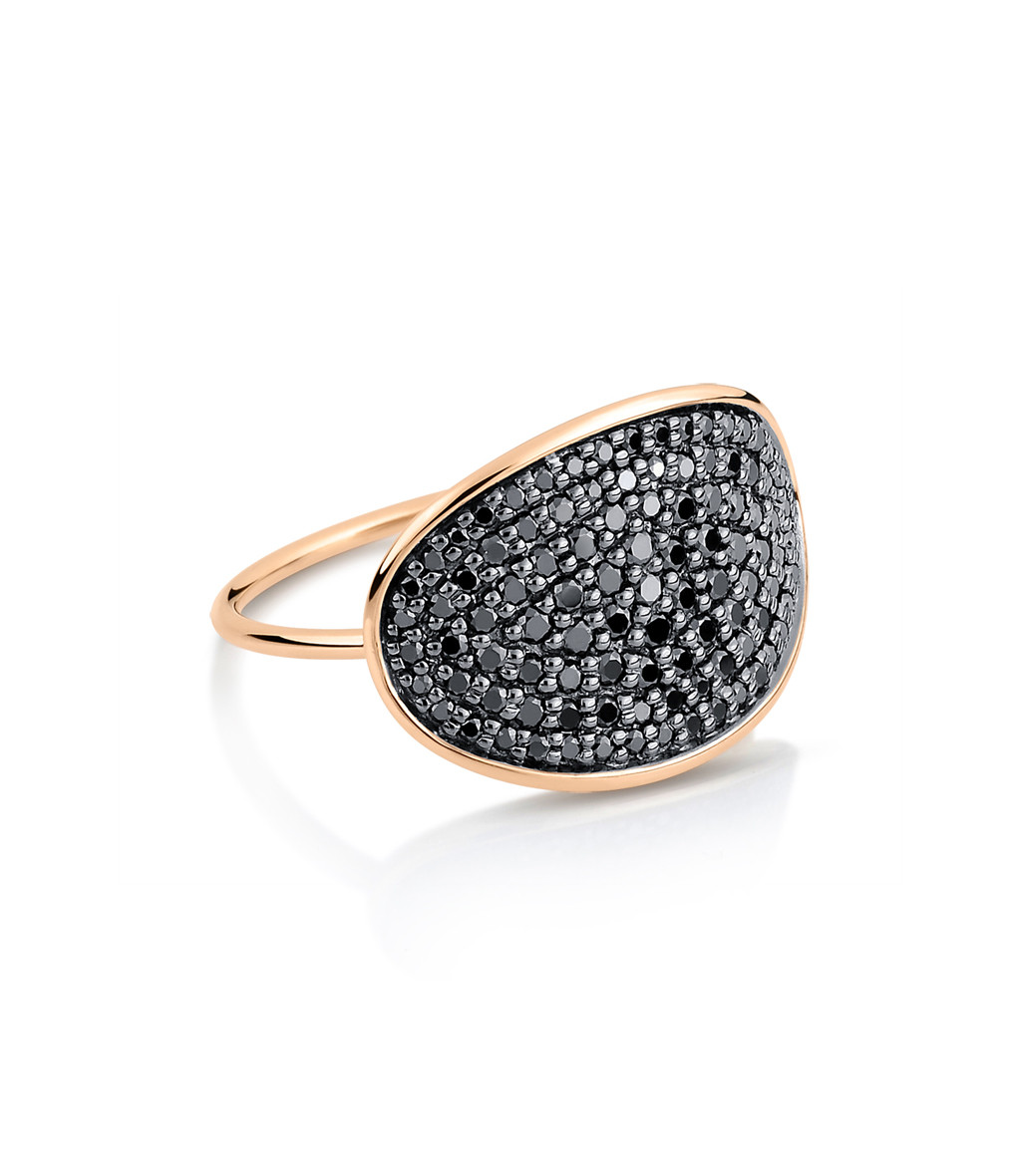 GINETTE_NY - Bague Sequin Large Or Rose Diamants Noirs