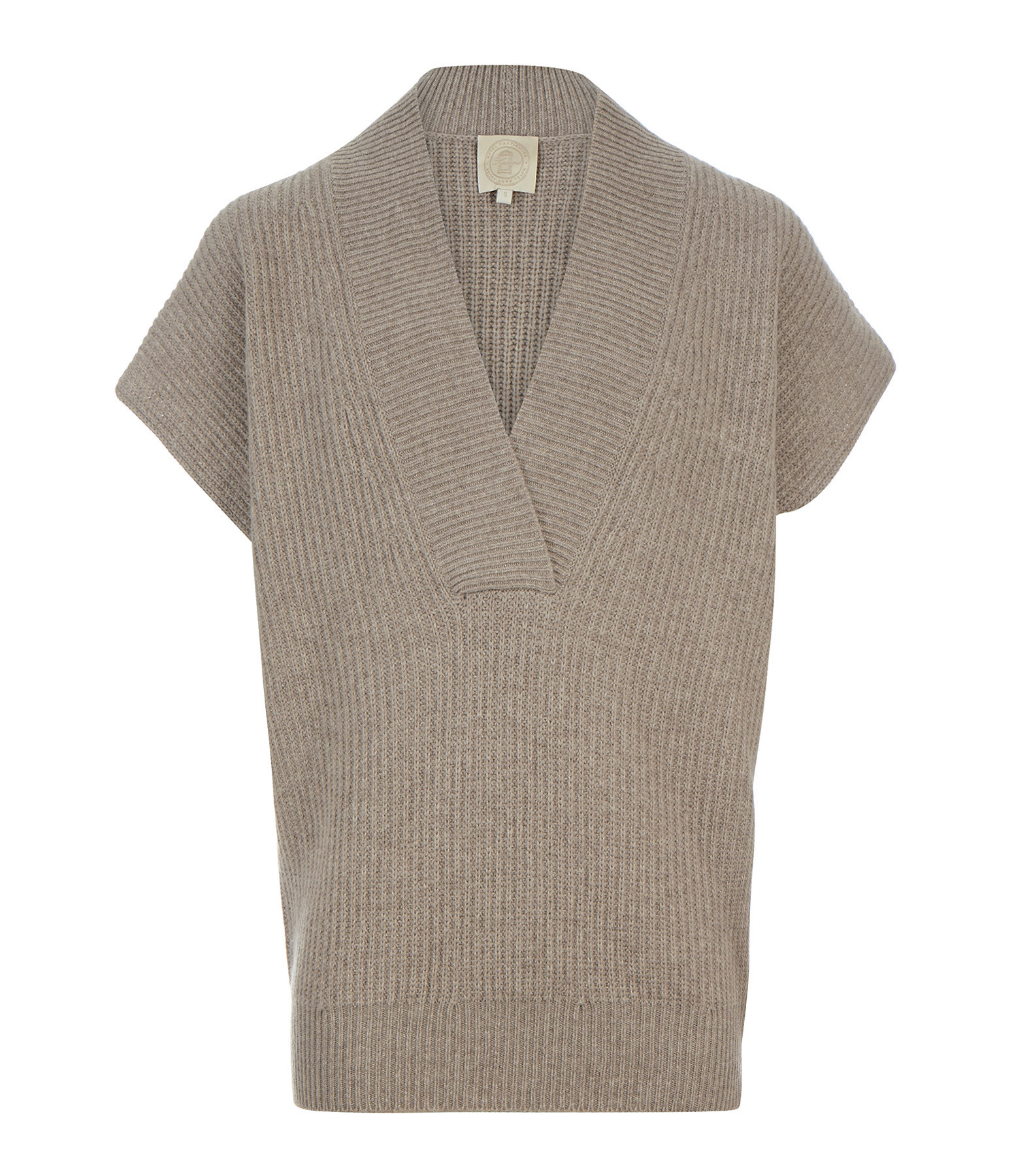 SEASONS - Pull Col V Manches Courtes Sable