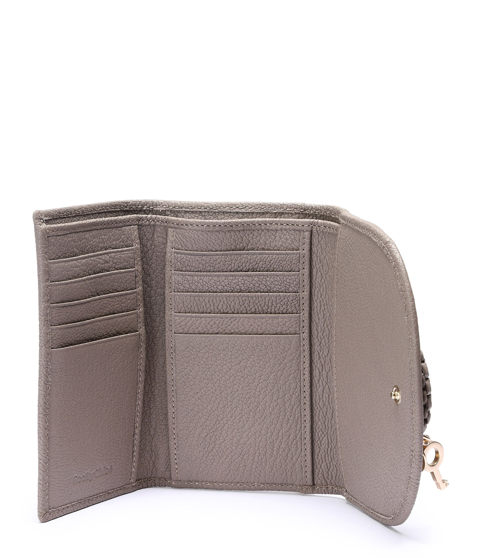 SEE BY CHLOE - Portefeuille Hana Compact Cuir Motty Grey