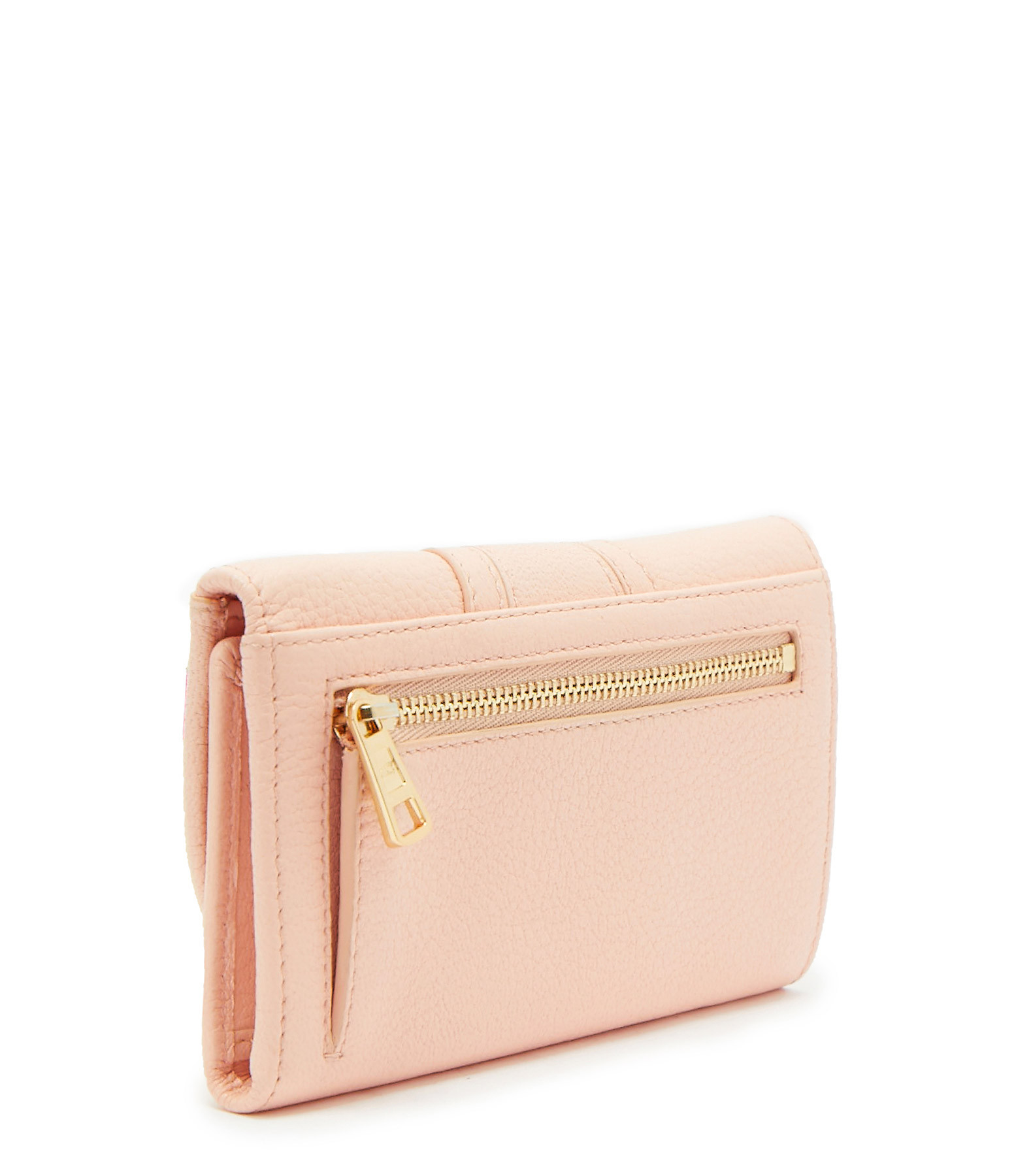 SEE BY CHLOE - Portefeuille Hana Compact Cuir Peachy Pink