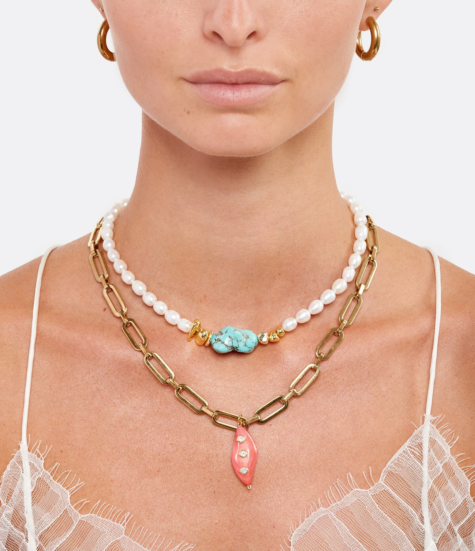 SHAKER JEWELS - Collier Plax Turquoise Perles Plaqué Or