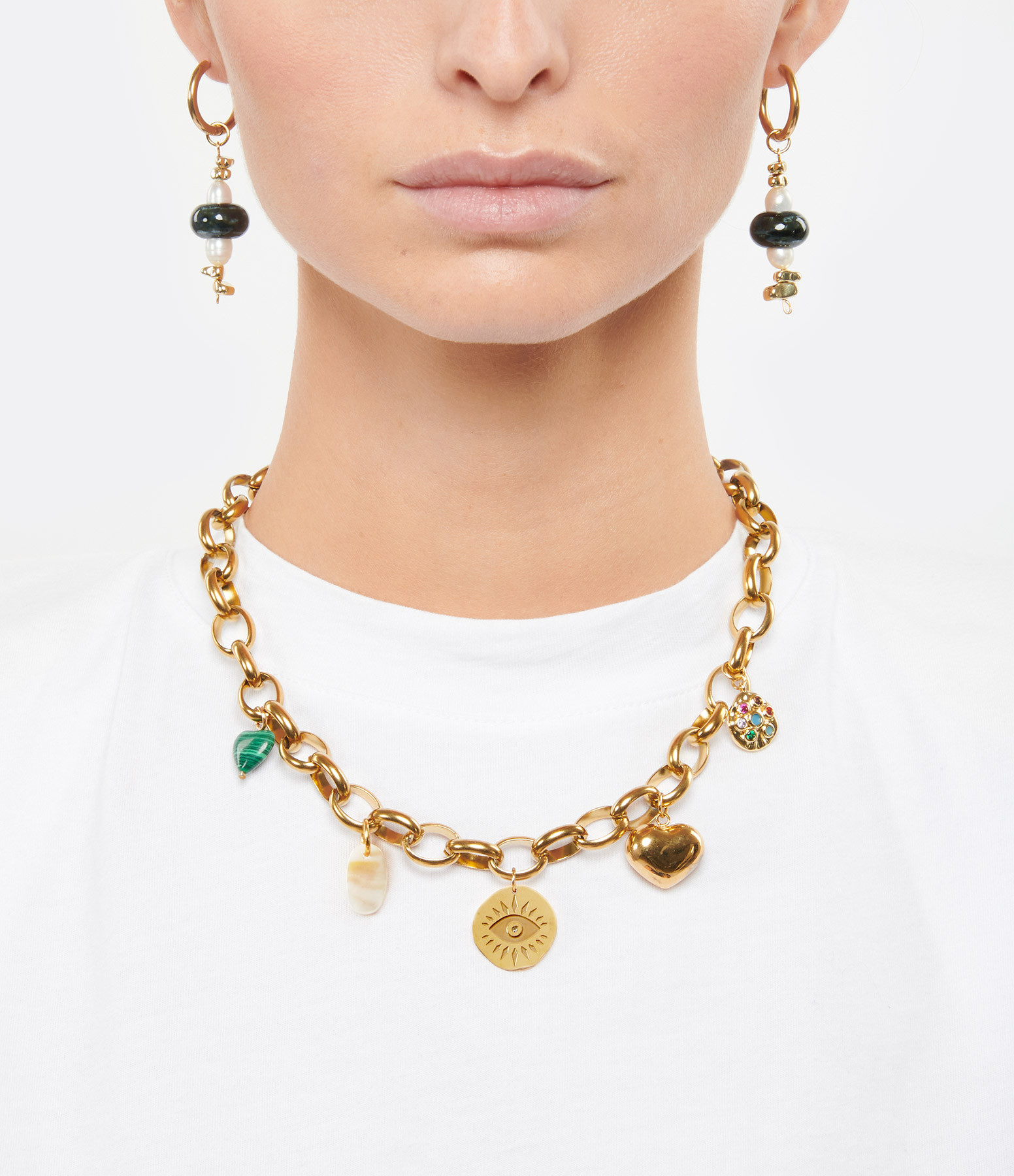 SHAKER JEWELS - Collier Chaine Charms Multicolore Plaqué Or