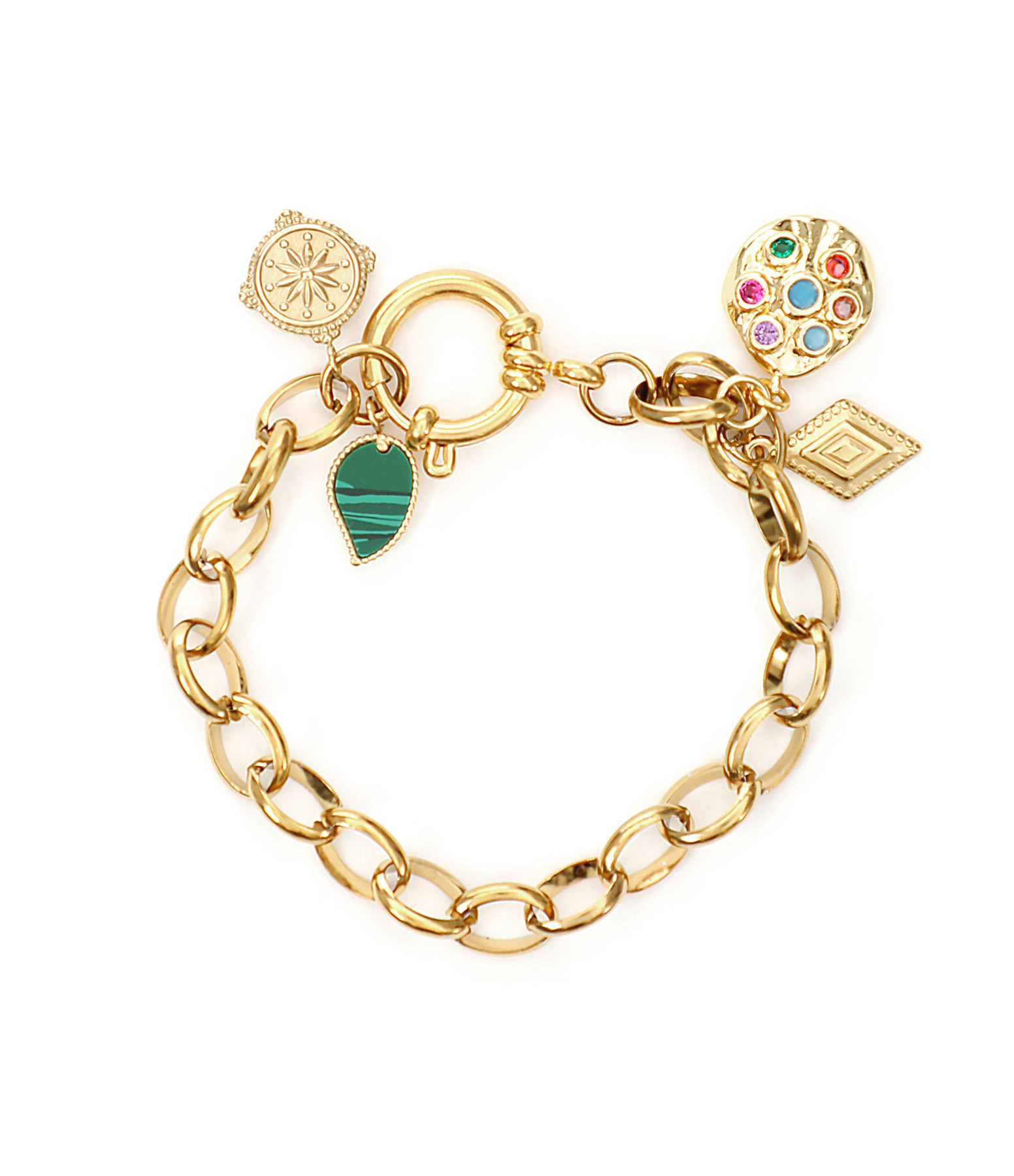 SHAKER JEWELS - Bracelet Rulli Charms Maille Plaqué Or