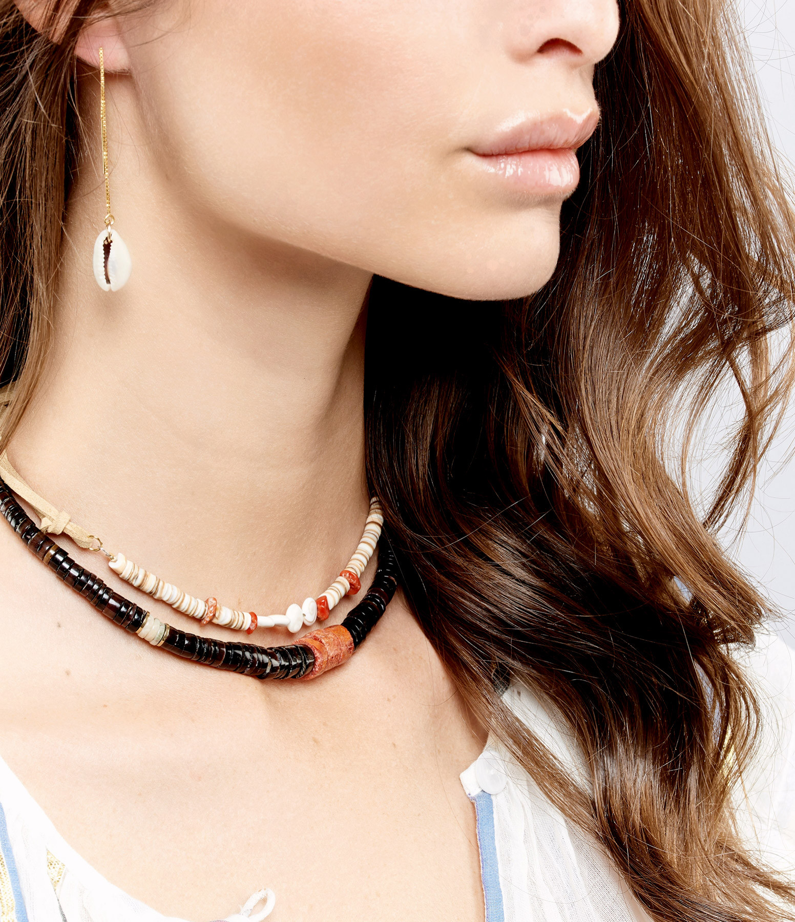 SISTERSTONE - Collier Coquillage Corail Fossilisé