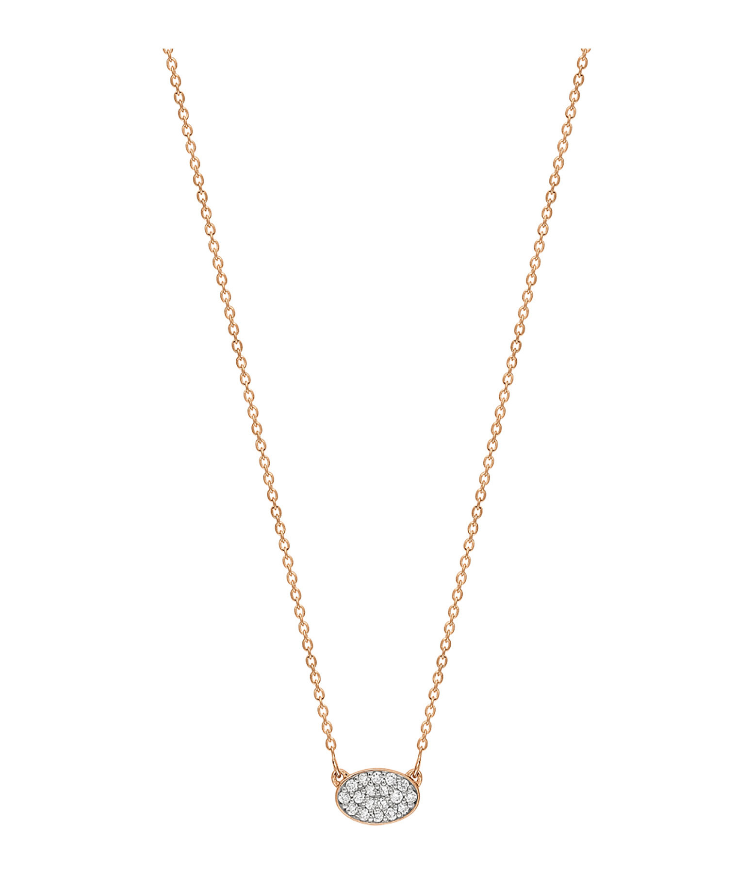 GINETTE_NY - Collier Sequin Mini Or Rose Diamants