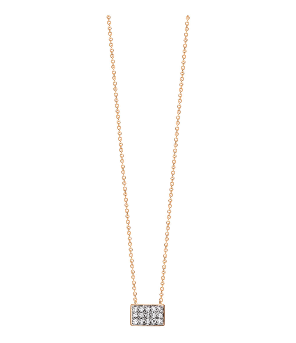 GINETTE_NY - Collier Tiny Diams Rectangle Or Rose Diamants