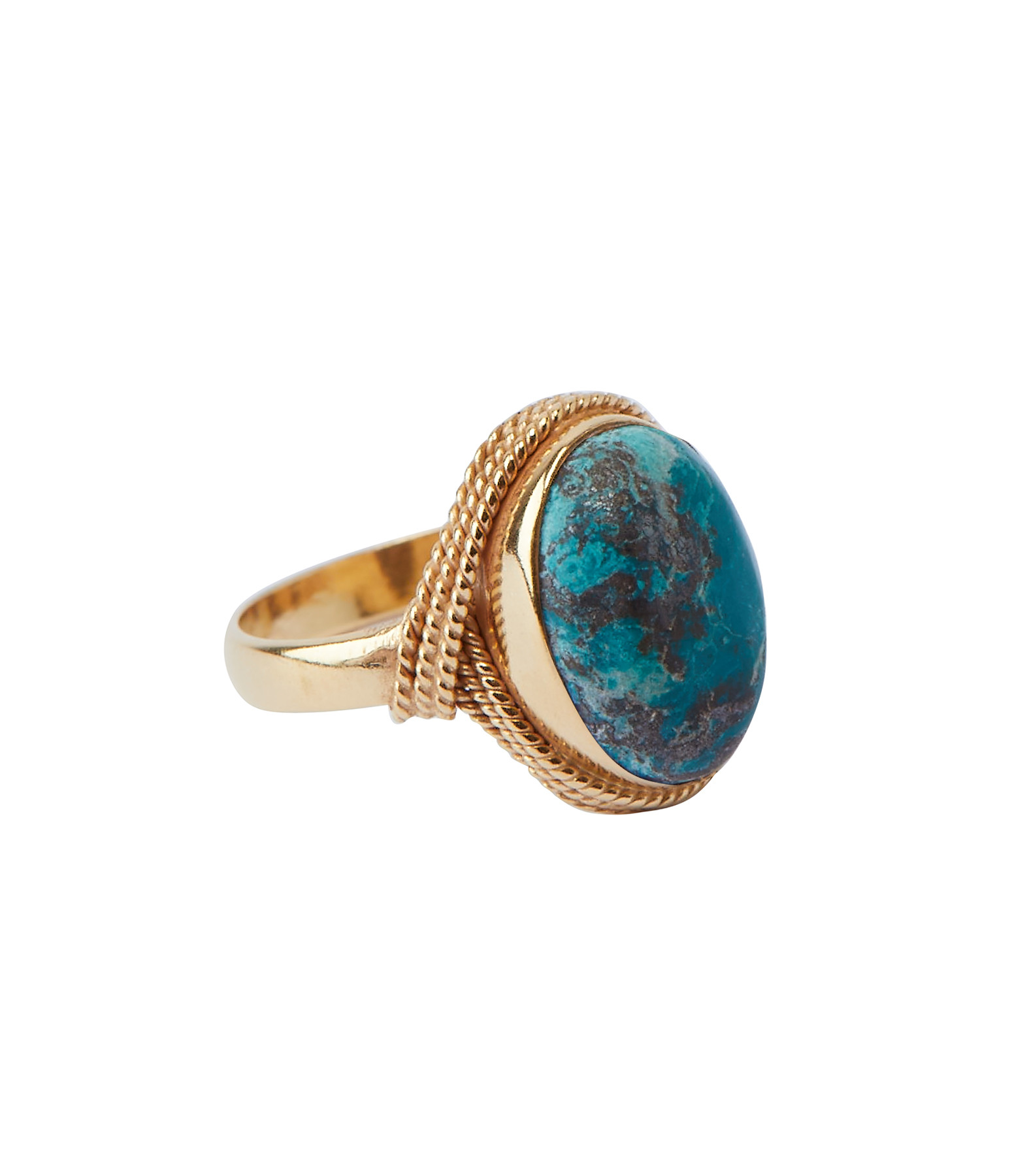 VADI JEWELS - Bague Sphinx Cabochon Chrysocolle Plaqué Or