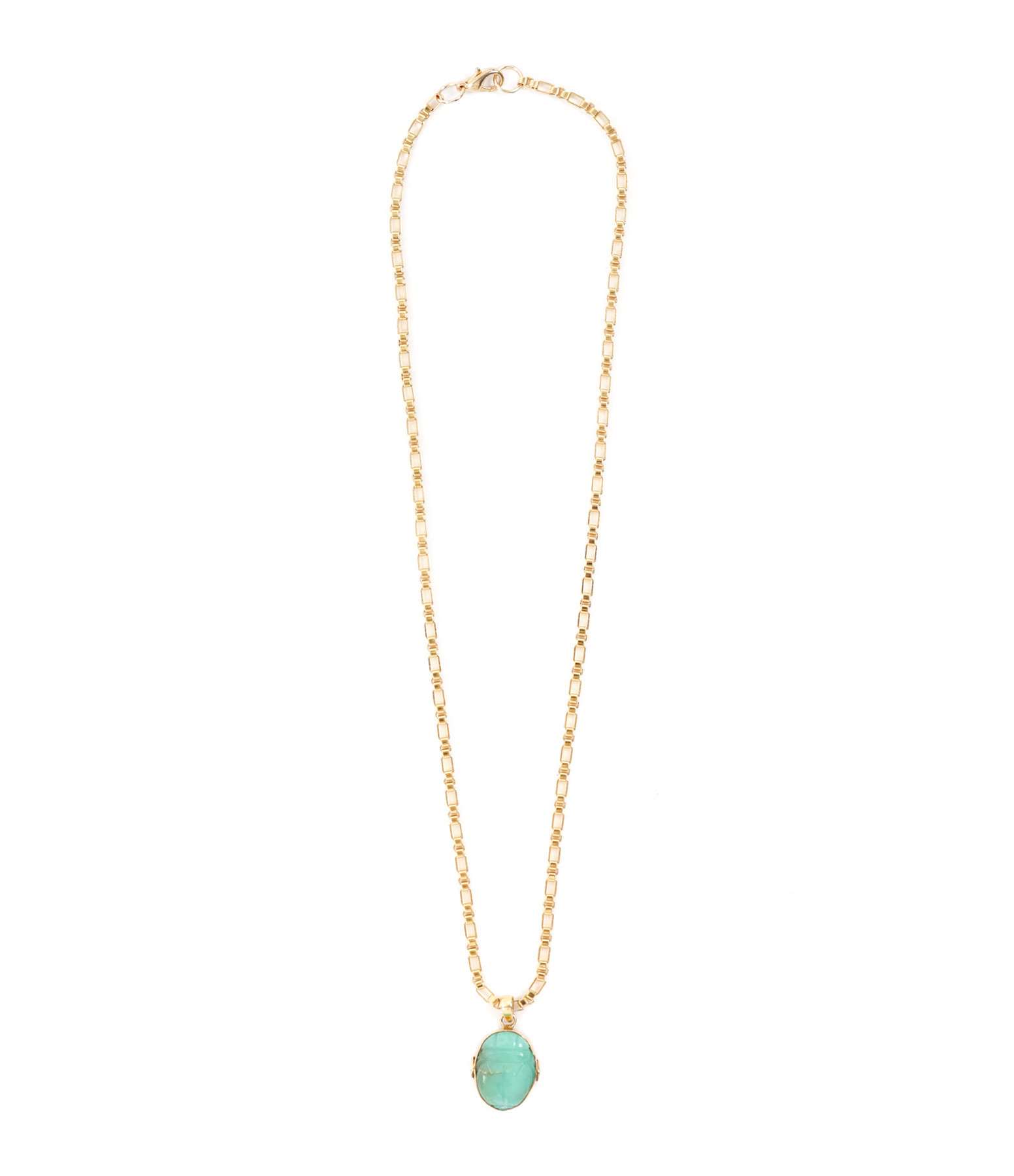 VADI JEWELS - Collier Scarabée Turquoise Plaqué Or