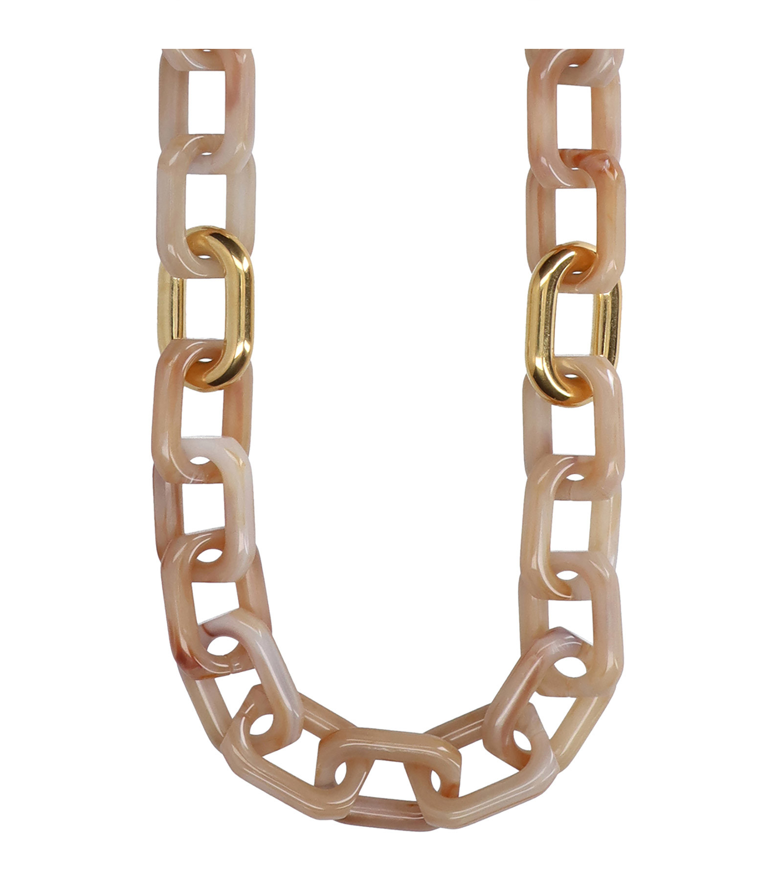 VANESSA BARONI - Collier Long Squared Beige Marble