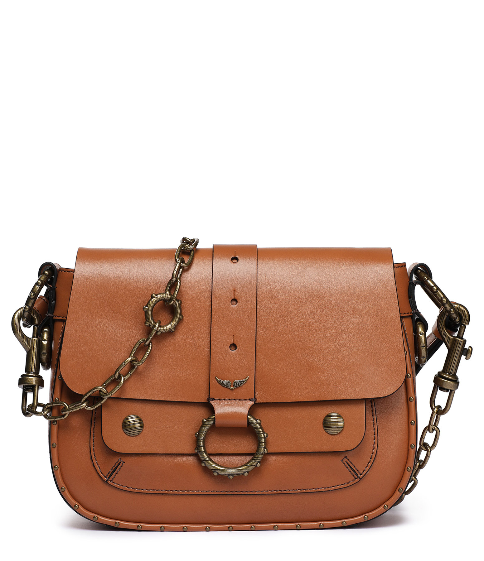 ZADIG & VOLTAIRE - Sac Smooth Cuir Marron, Collection Kate Moss