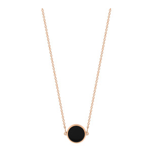 Collier Ever Mini Disc Or Rose Onyx