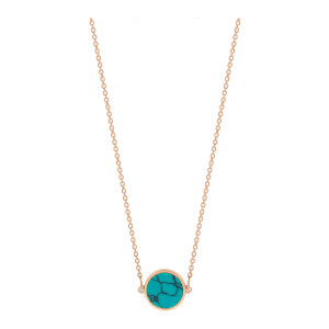 Collier Ever Mini Disc Or Rose Turquoise