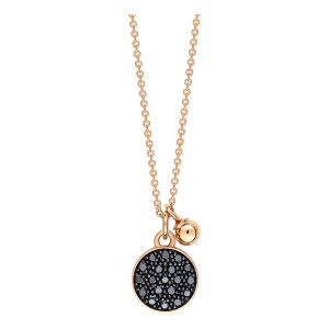 Collier Mini Ever Disc Or Rose Diamants Noirs