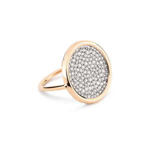 Bague Ever Large Disc Or Rose Diamants