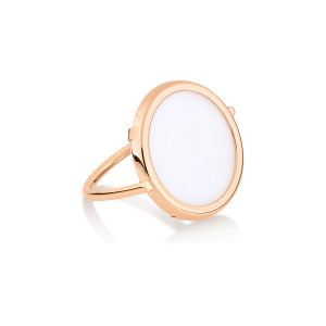 Bague Disc Or Rose Agate Blanche