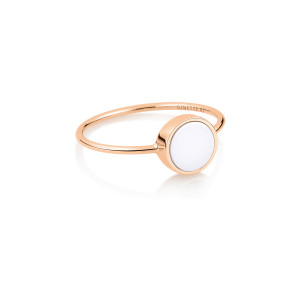 Bague Ever Mini Disc Or Rose Agate Blanche