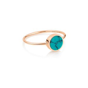 Bague Ever Mini Disc Or Rose Turquoise