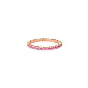 Bague French Kiss Saphirs Roses Or Rose