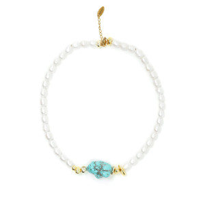 Collier Plax Turquoise Perles Plaqué Or