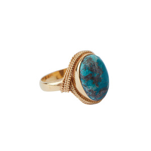 Bague Sphinx Cabochon Chrysocolle