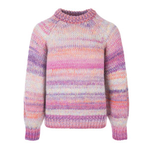 Pull Col Rond Manille Laine Rose