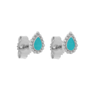 Boucles d'oreilles Lucky Cachemire Email Or Blanc