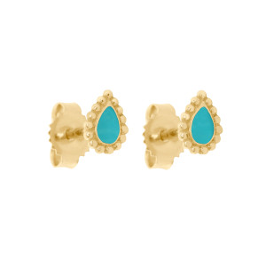 Boucles d'oreilles Lucky Cachemire Email Or Jaune