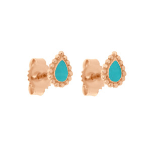 Boucles d'oreilles Lucky Cachemire Email Or Rose