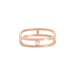 Bague Charlie Double Diamant Or Rose