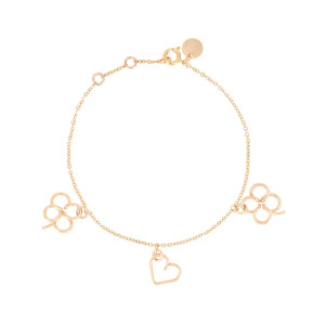 Bracelet Lucky Three Cœur Trèfle Gold Filled, Collection Charms