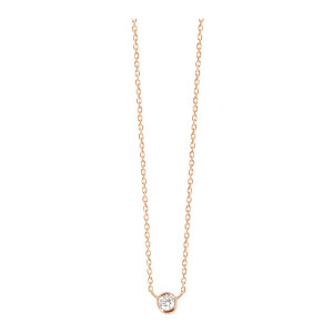 Collier One Diamant Or Rose