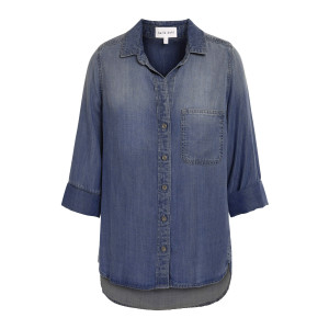 Chemise Tail Button Down Dark Ombre Wash