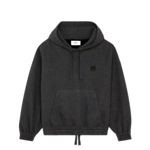 Hoodie Broderie Laine Gris Chiné