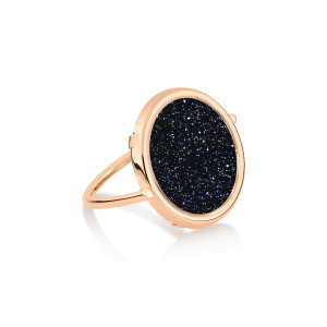 Bague Disc Blue Sand Stone Or Rose