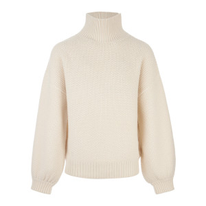 Pull Col Roulé Maille Ivoire