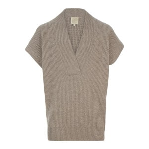 Pull Col V Manches Courtes Sable