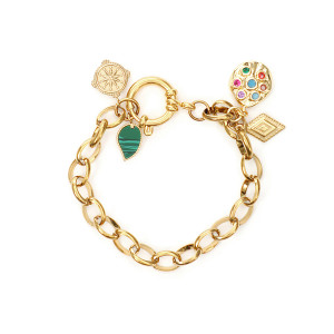 Bracelet Rulli Charms Maille Plaqué Or