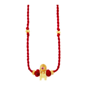 Collier Thaali Rubis Rouge Plaqué Or
