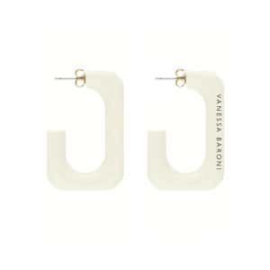 Boucles d'oreilles Squared Single Small Off White