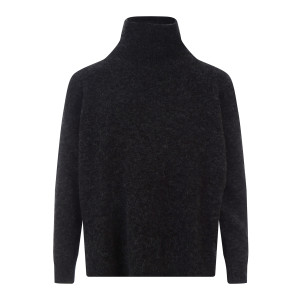 Pull Col Roulé Sateen Laine Antracite