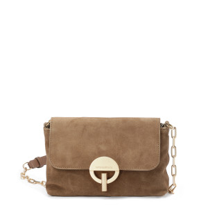 Sac Moon Souple PM Cuir Velours Taupe