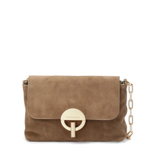 Sac Moon Souple Cuir Velours Taupe