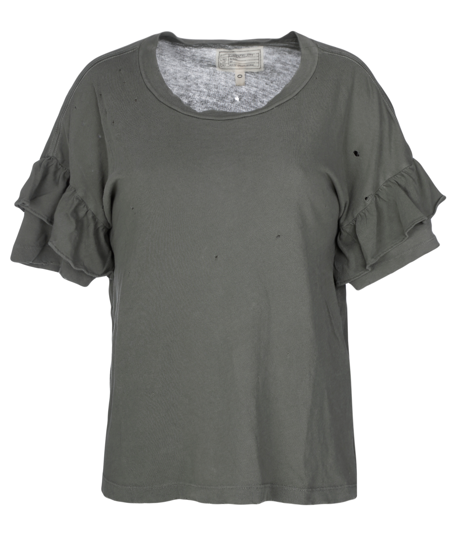 Tee-shirt The Ruffle Coton Dusty Olive Destroy