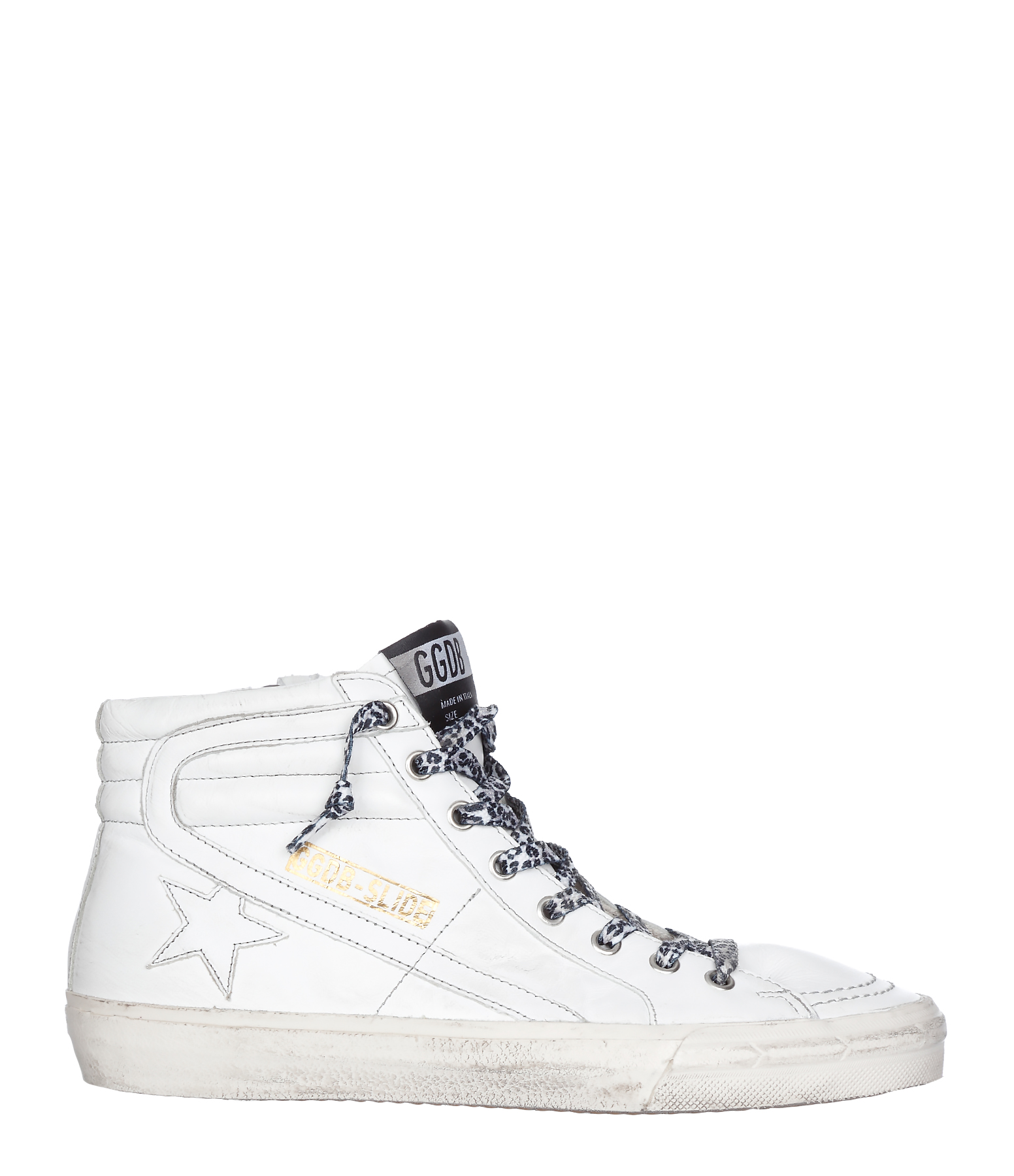 Sneakers Slide Cuir White Grey Stitching