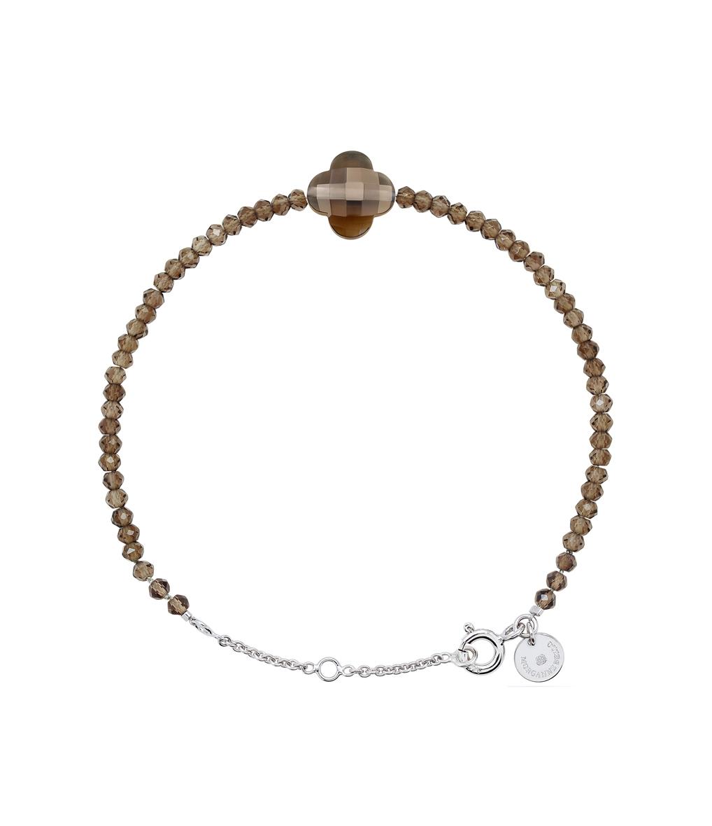 Bracelet Perles d'Evasion Trèfle Quartz fumé