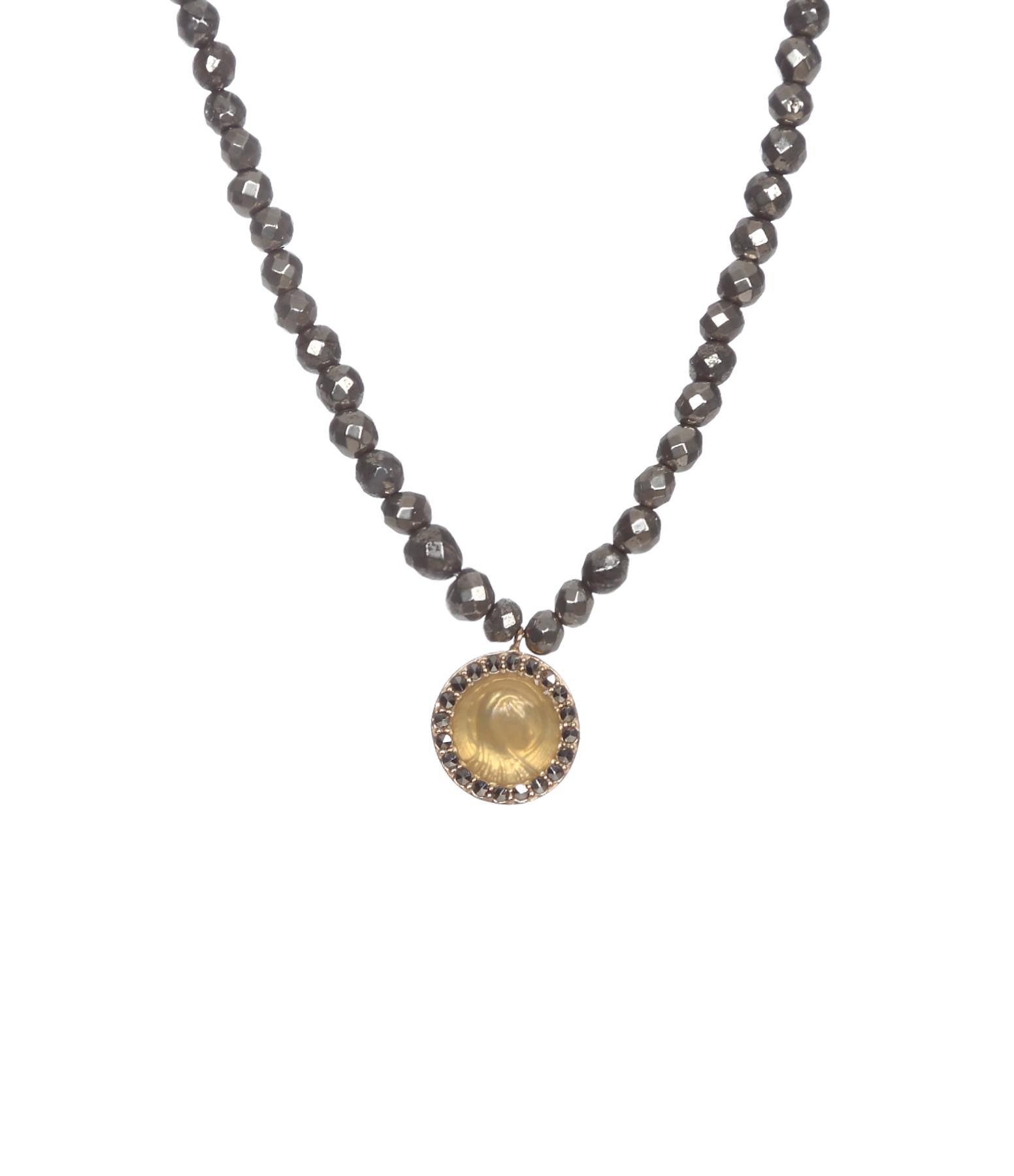 Collier Médaille Madone Ronde Marcassites 9K