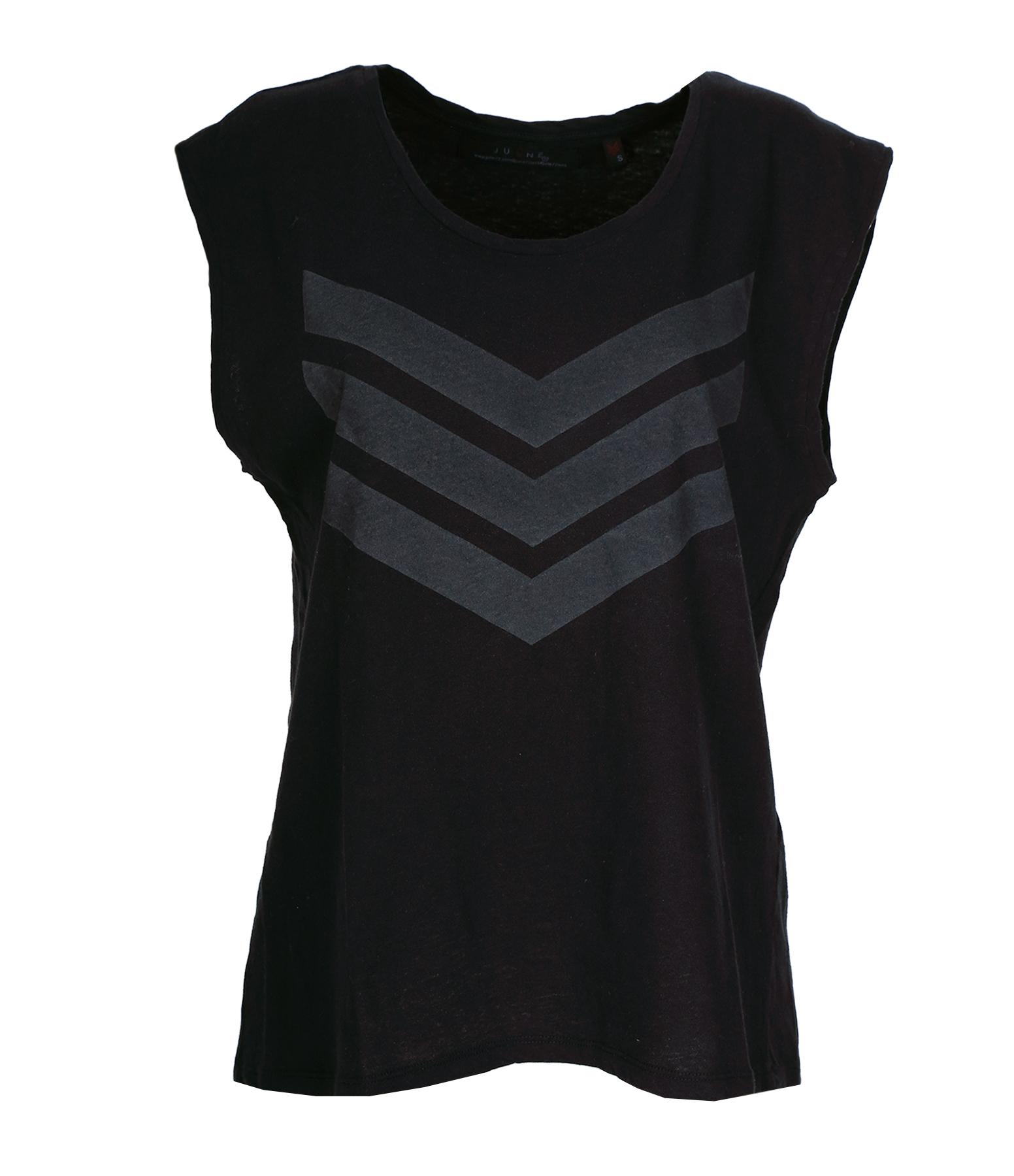 Tee-shirt Hayden Coton Lin Noir Logo Gris