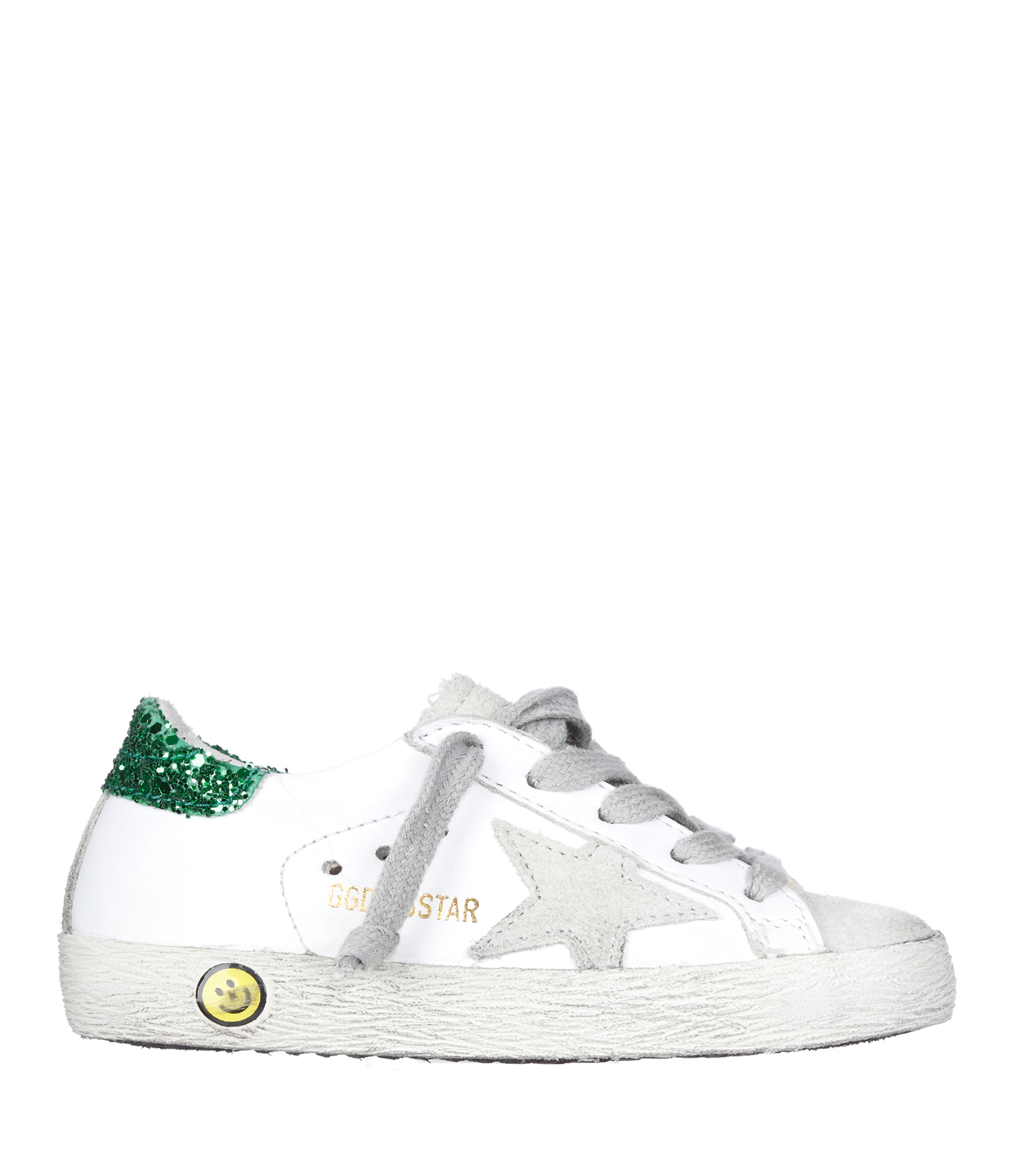 Sneakers Enfant Superstar Cuir White Green Glitter