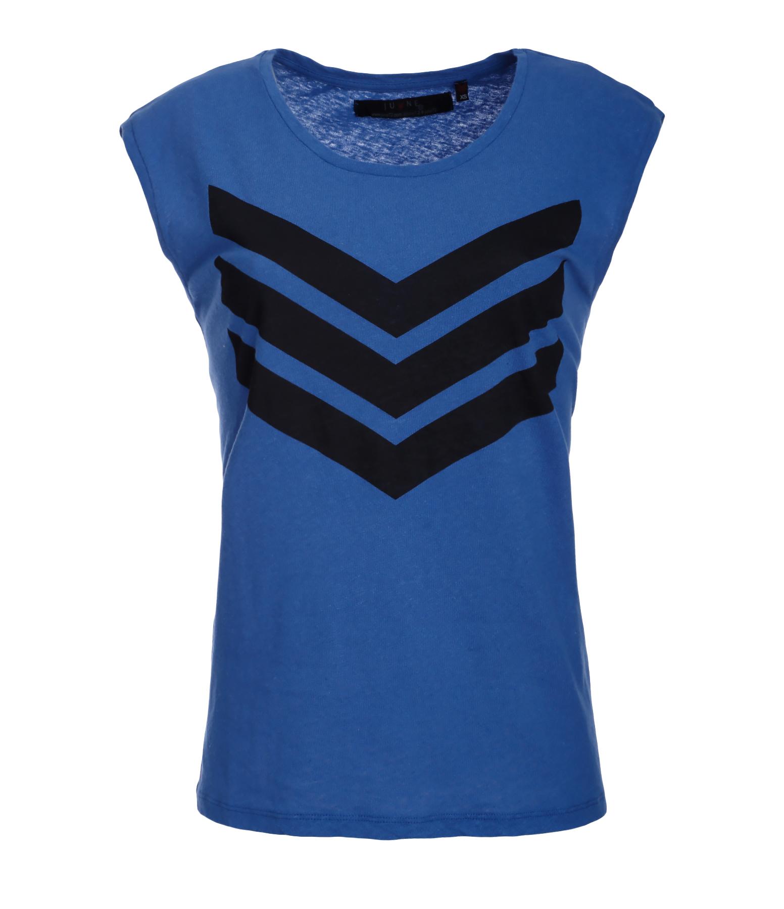 Tee-shirt Hayden Coton Lin Bleu Logo Noir